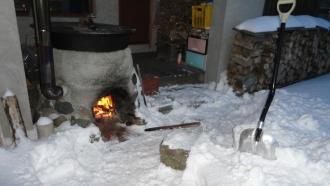 2014年1月除雪をしてから風呂を沸かす