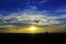 $ぽっからの気侭な写真館-夕陽に染まる鈴鹿山脈