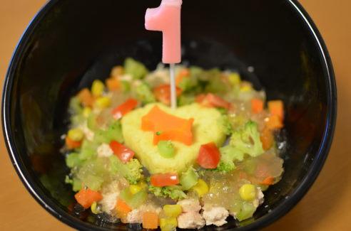 ~スイートポテトとササミのスープ仕立て カラフル野菜のゼリー寄せ~