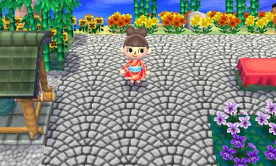アーチ状に並べた石畳の道