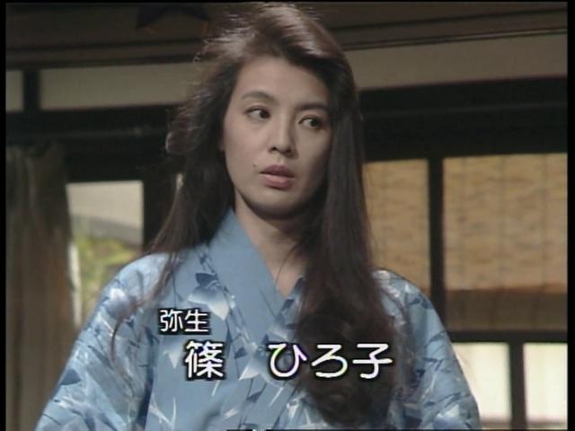 ドラマ内にて浴衣を着て寝起きの雰囲気の篠ひろ子