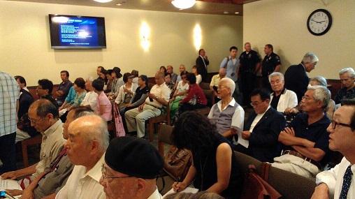 公聴会に集まった日系人ら