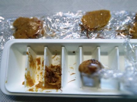 味噌と調味料を冷凍した姿