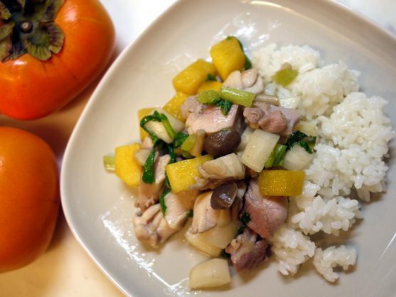 鶏肉とカブとカキの炒め物