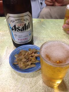 ビールとお通しのメンマ