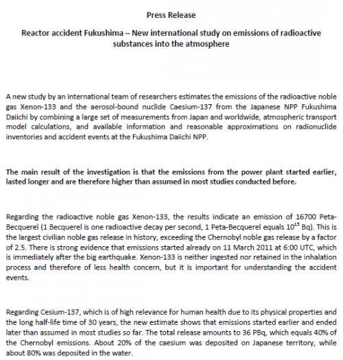 オーストリア気象庁が福島原発事故のデータを解析した結果