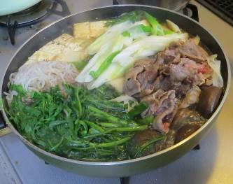シュンギク入り鍋料理