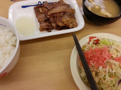 松屋フーズのカルビ焼肉定食 (3)