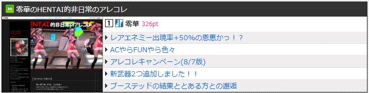 PSO2Link週間ランキング【Ship01フェオ】祝10位