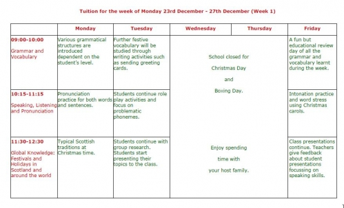 regent scotland Christmas class schedule 1