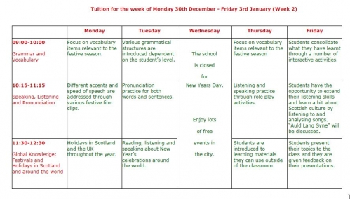 regent scotland Christmas class schedule 2