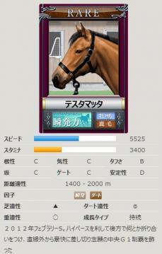 ダビゲ競走馬カード@Rテスタマッタ
