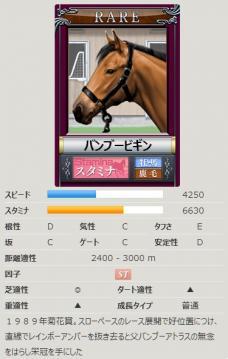 ダビゲ競走馬カード@Rバンブービギン