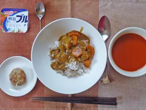カレーライス,野菜スープ,プチバーグ,ヨーグルト