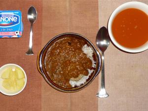 ミネストローネスープ,オムシチュー,バニラアイスとココナッツミルク