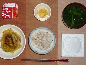 胚芽押麦入り五穀米,納豆,もやしとなすの塩麹炒め,白菜の漬物,ほうれん草のおみそ汁,ヨーグルト