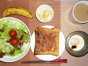 イチゴジャムトースト,サラダ,目玉焼き,ジャーマンポテト,コーヒー,バナナ