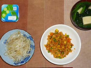 チキンライス,プチオムレツ(写真撮り忘れ),蒸しもやし,ほうれん草と高野豆腐のおみそ汁,ヨーグルト