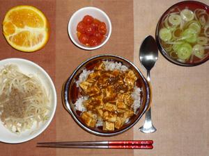 麻婆豆腐丼,もやしとひき肉の炒め物,冷やし漬けプチトマト,長ネギのおみそ汁,オレンジ