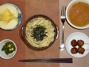タリアテッレ柚子胡椒ソース,つくね×2,トマトソース,ほうれん草のソテー,りんご