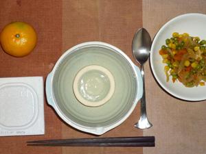 納豆おじや,納豆,玉葱とベジタブルミックスのソテー,みかん