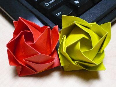 クリスマス 折り紙 折り紙 バラ 立体 : yujiorigami.blog.fc2.com