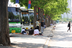 韓国民俗村バス駐車場