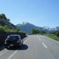 福島県六十里越で休憩中