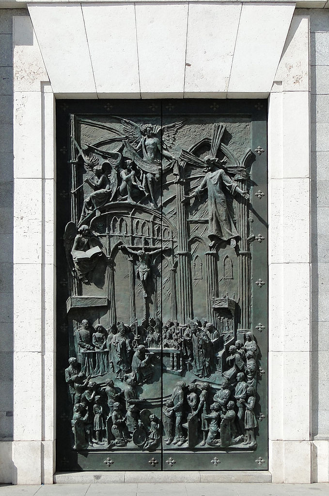 Main portal of the Southeast façade of the Almudena Cathedral, Madrid, Spain
