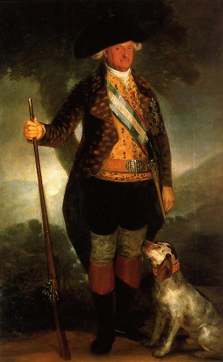 狩猟服姿のカルロス4世の肖像画