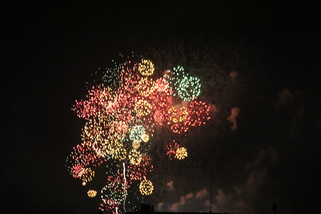 自宅屋上から見た多摩川花火_3