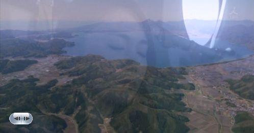 そちの父上ゆかりの、磐梯山が見守る、会津じゃ!会津・猪苗代の上空(しっかり会津をアピールするカナポリ)