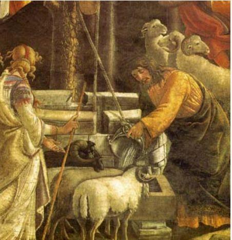ボッティチェッリ システィナ礼拝堂フレスコ画 ミデヤンの祭祀の娘のヒツジに水を与えるモーゼ